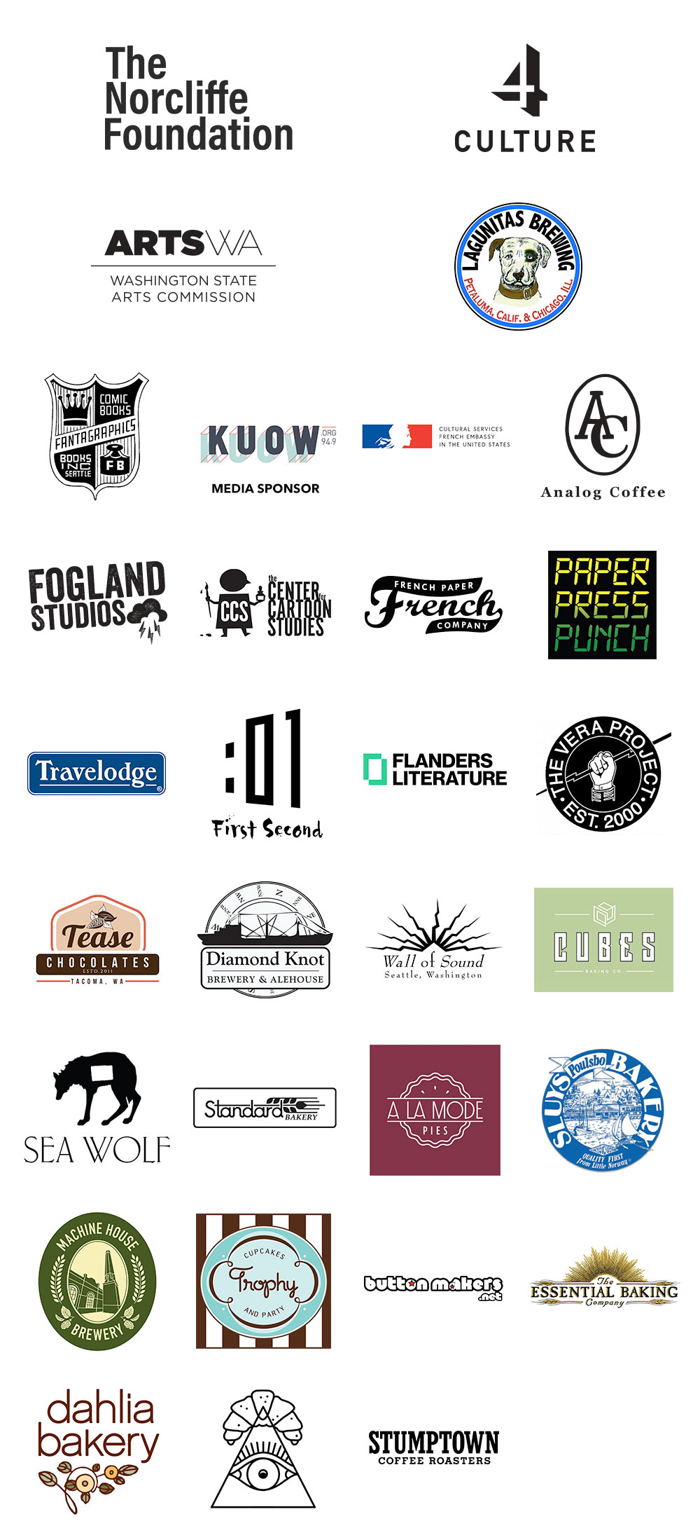 Sponsors for 2018 Short Run Comix & Arts Festival