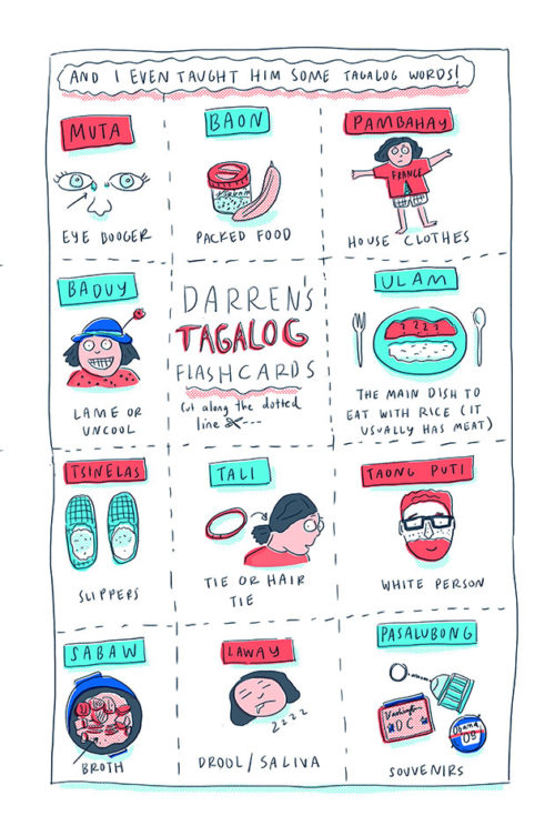Tagalog flash cards: muta, baon, pambahay, baduy, ulam and more.
